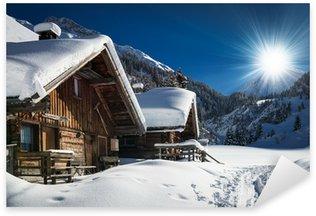 Sticker - Pixerstick winter ski chalet and cabin in snow mountain landscape in tyrol