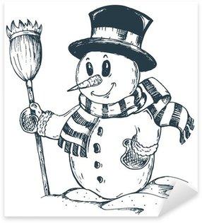Sticker - Pixerstick Winter snowman theme drawing 1