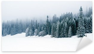 Sticker - Pixerstick Winter white forest with snow, Christmas background