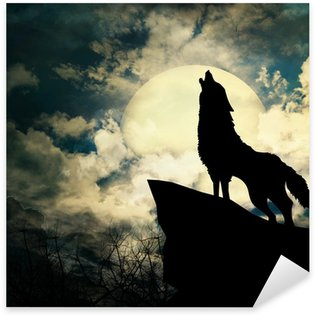 Sticker - Pixerstick wolf in silhouette howling to the full moon