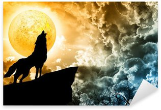 wolf in silhouette howling to the full moon Sticker - Pixerstick