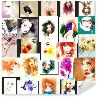 woman portrait .abstract watercolor .fashion background Sticker - Pixerstick