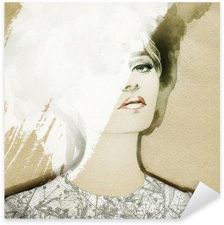 Sticker - Pixerstick woman portrait .abstract watercolor .fashion background