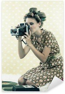 Sticker - Pixerstick Woman taking Photograph