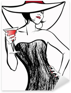 Woman with a hat drinking a cocktail