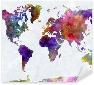 Pixerstick for All Surfaces World map in watercolorpurple and blue
