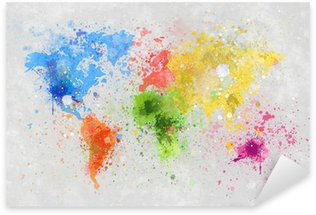 world map painting Sticker - Pixerstick