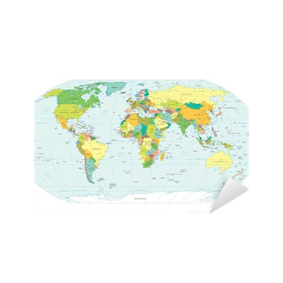 Sticker - Pixerstick world map political boundaries