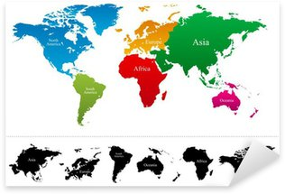 World map sticker pixers we live to change world map with colorful continents atlas vector pixerstick sticker gumiabroncs Images