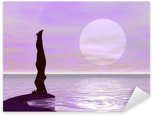 Sticker Pixerstick Yoga au coucher du soleil - rendu 3D
