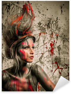 Young woman muse with creative body art and hairdo Sticker - Pixerstick
