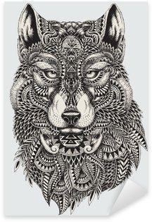 Pixerstick Sticker Zeer gedetailleerde abstracte wolf illustratie
