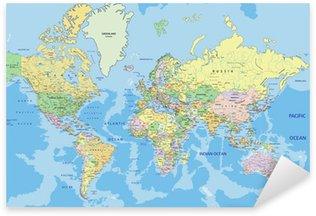 Pixerstick Sticker Zeer gedetailleerde politieke kaart van de wereld met de etikettering.