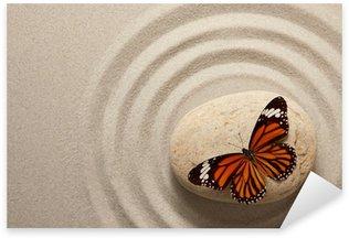 Pixerstick Sticker Zen rots met vlinder