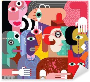 Pixerstick Sticker Zes vrouwen en hond
