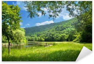 Pixerstick Sticker Zomer landschap met rivier en blauwe hemel
