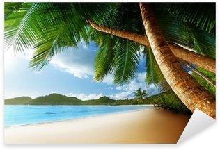 Pixerstick Sticker Zonsondergang op het strand, Mahe, Seychellen