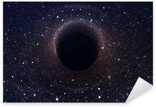 Pixerstick Sticker Zwart gat in diepe ruimte, het gloeien mysterieuze universum. Elementen van deze afbeelding geleverd door NASA