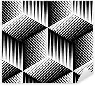 Pixerstick Sticker Zwart-wit ongrijpbaar abstract geometrische naadloze 3D-patroon.