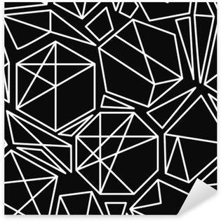 Pixerstick Sticker Zwart-wit vector geometrische naadloze patroon