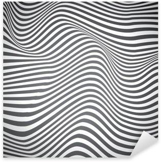 Pixerstick Sticker Zwarte en witte gebogen lijnen, oppervlakte golven, vector design