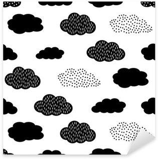 Pixerstick Sticker Zwarte en witte naadloze patroon met wolken. Schattige baby shower vector achtergrond. Child tekenstijl illustratie.
