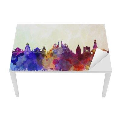 Bali skyline in watercolor background Table & Desk Veneer