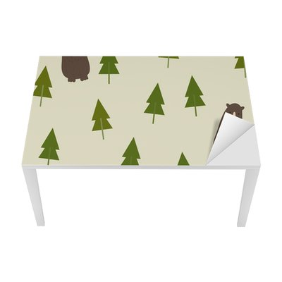 Bear and forest seamless background. Table & Desk Veneer