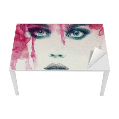 Beautiful woman. watercolor illustration Table & Desk Veneer