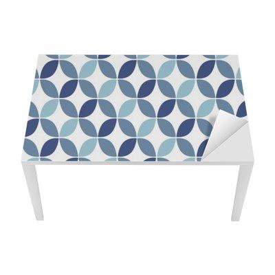 Blue Geometric Retro Seamless Pattern Table & Desk Veneer