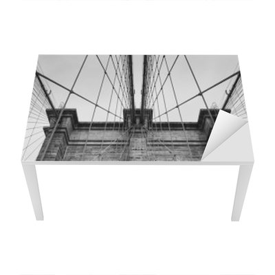 Brooklyn Bridge New York City close up architectural detail in timeless black and white Table & Desk Veneer