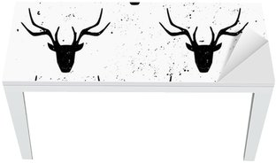 Deer Head Silhouette Seamless Pattern Table & Desk Veneer