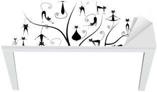 Family cats tree, 27 black silhouettes funny Table & Desk Veneer