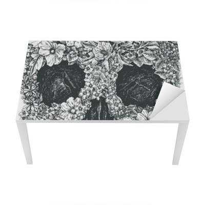 Flower Skull Vector Table & Desk Veneer
