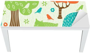 Table & Desk Veneer Forest animals seamless pattern