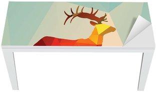 Table & Desk Veneer Geometric polygonal deer, pattern design, vector