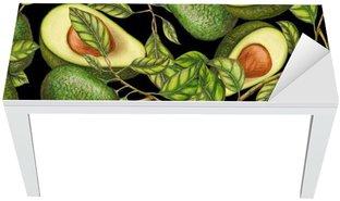 Hand drawn avocados on dark background, seamless pattern Table & Desk Veneer