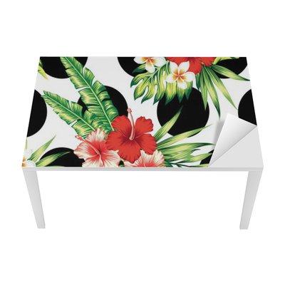 hibiscus and palm leaves pattern Table & Desk Veneer