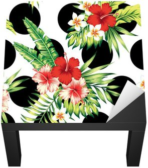 hibiscus and palm leaves pattern