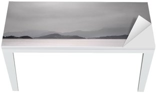 Looking over a pier and a boat, low saturation Table & Desk Veneer
