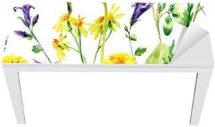 Meadow watercolor wild flowers seamless pattern Table & Desk Veneer
