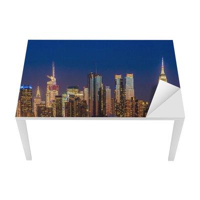 New York City Manhattan midtown buildings skyline night Table & Desk Veneer