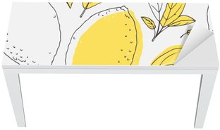 Outline seamless pattern with hand drawn lemon and leaves. Doodle fruit for package or kitchen design Table & Desk Veneer