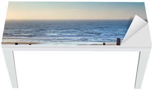 path to North sea beach in gold sunshine Table & Desk Veneer