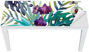 Table & Desk Veneer pattern orchid hibiscus leaves watercolor tropics