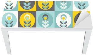 Retro floral pattern, geometric seamless flowers Table & Desk Veneer