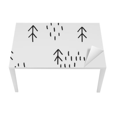 Scandinavian pattern with fir trees. Seamless winter patterns, hand drawn in black ink. Perfect for gift wrapping or printing on fabric. Seamless minimal christmas pattern. Table & Desk Veneer