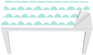 Scandinavian seamless mint pattern in hand drawn style. Stylized hill rows. Wave simple pattern for fabric, textile and baby linen. Table & Desk Veneer