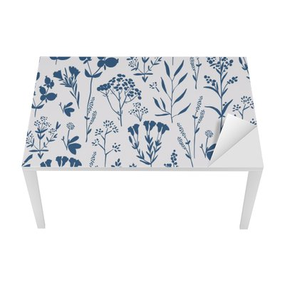 Seamless hand-drawn floral pattern with herbs Table & Desk Veneer