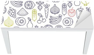 seamless pattern with fruits and vegetables icons Table & Desk Veneer